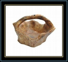 Wooden Fir Root Handly Carved Medium Root Basket