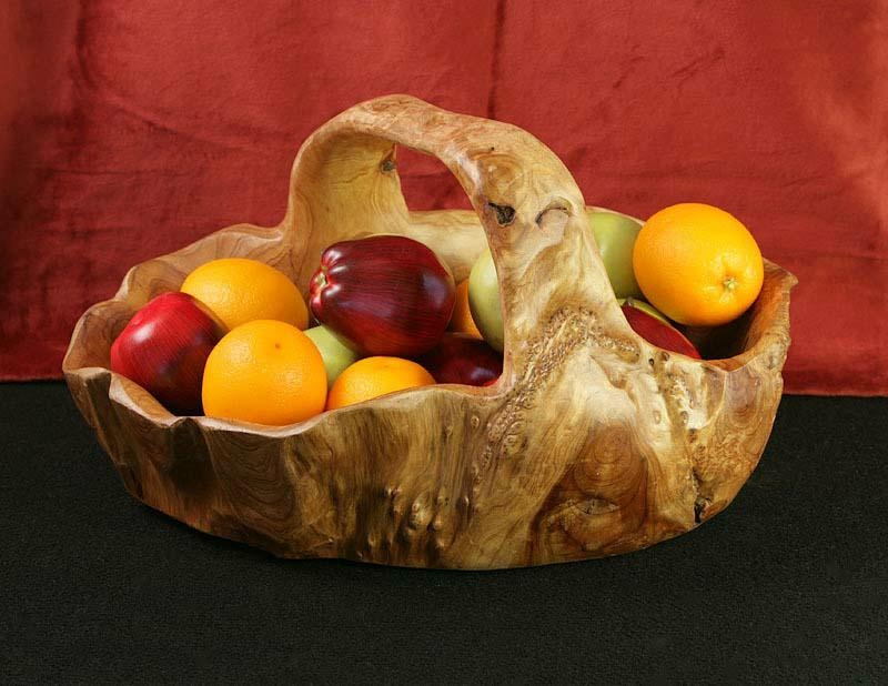 Wooden Fir Root Handly Carved Medium Root Basket 2