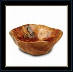 Wooden Fir Root Hand Carved Small Flat Cut Bowls