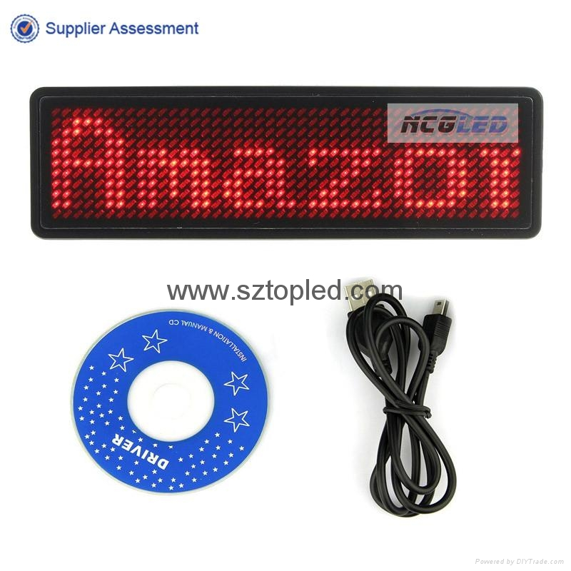 TOP quality Hebrew Arabic world language support  scrolling led  name badge 5