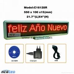High quality P4.0 matrix 22''Lx4''H LED Message Moving Sign Display