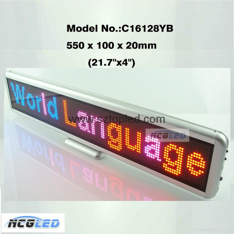 High quality P4.0 matrix 22''Lx4''H LED Message Moving Sign Display 3