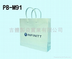 Paper bag with plastic handle