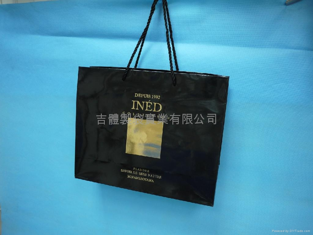Paper bag with hot stamping foil