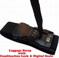 Luggage strap with combination lock and digital scale 1