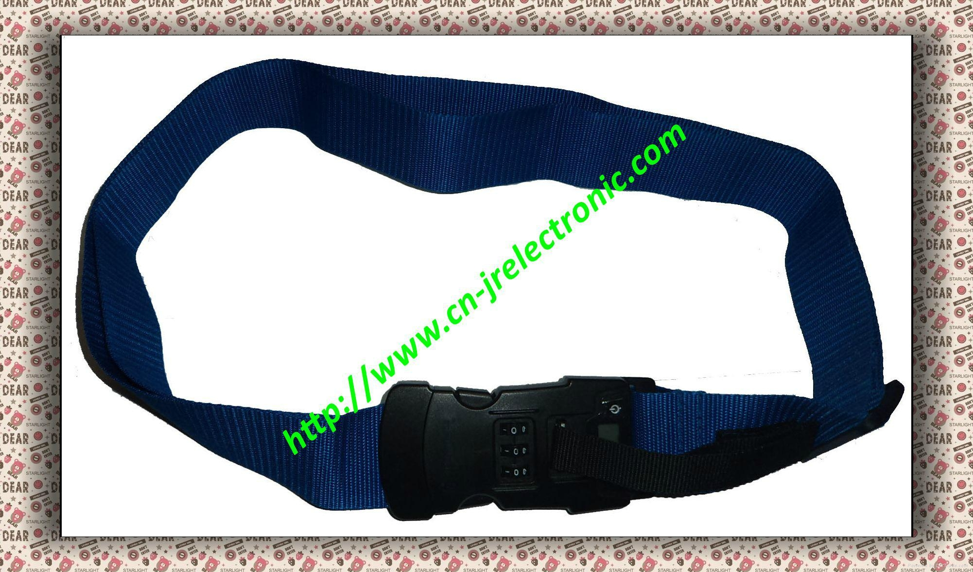 Luggage strap with combination lock and digital scale 2
