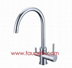 Rolya Chrome/Sandbeige 3 way Pure Water Kitchen Faucet Mixer Taps