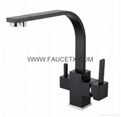 Rolya Matte Black Kitchen Faucet Granite Sink Mixer 3 way Water Filter Tap