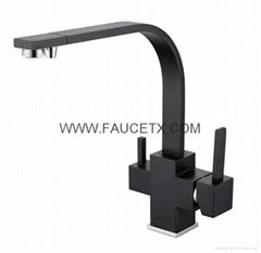 Rolya Matte Black Kitchen Faucet Granite Sink Mixer 3 way Water Filter Tap