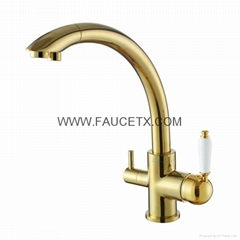 Drinking Water Filter 3 way PVD Golden Finish Kitchen Sink Faucet Mixer Tap