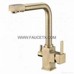 Rolya Nickel Brushed 3 way water filter taps tri flow kitchen faucets