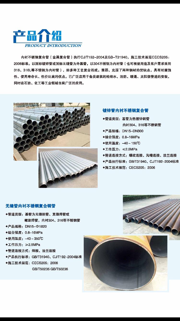 雙金屬內襯不鏽鋼復合管規格表 3