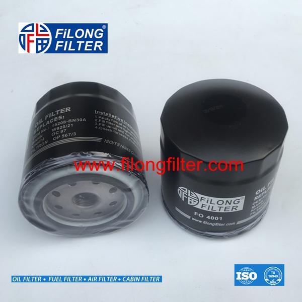 FILONG Manufactory Oil Filter FO-4001 W920/21  5940899 60507080 210101012005 210501012005 15208BN300 15208BN30A 15208-BN30A PH2809 SM102