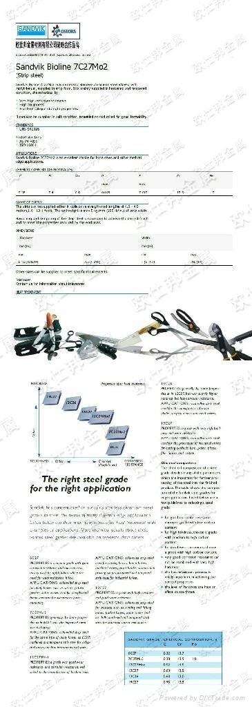 正品山特維克7C27MO2彈簧鋼帶不鏽鋼7C27MO2 5