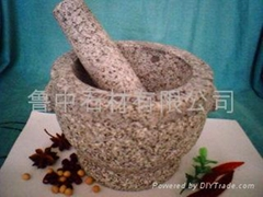 granite stone mortar & pestle with two ears