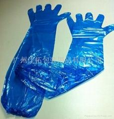 獸醫用薄膜長手套 PE長手套 帶橡觔圈