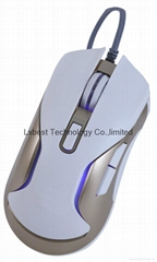 Hot sell USB wired LED light printed logo gaming mouse