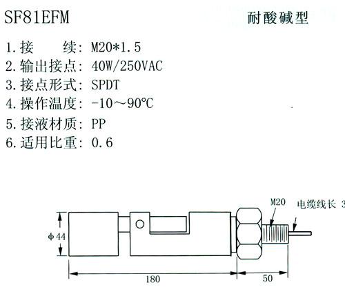 侧装式浮球液位开关 1