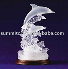 Dolphin sculpture 2014 custom frosted casting interior decoration