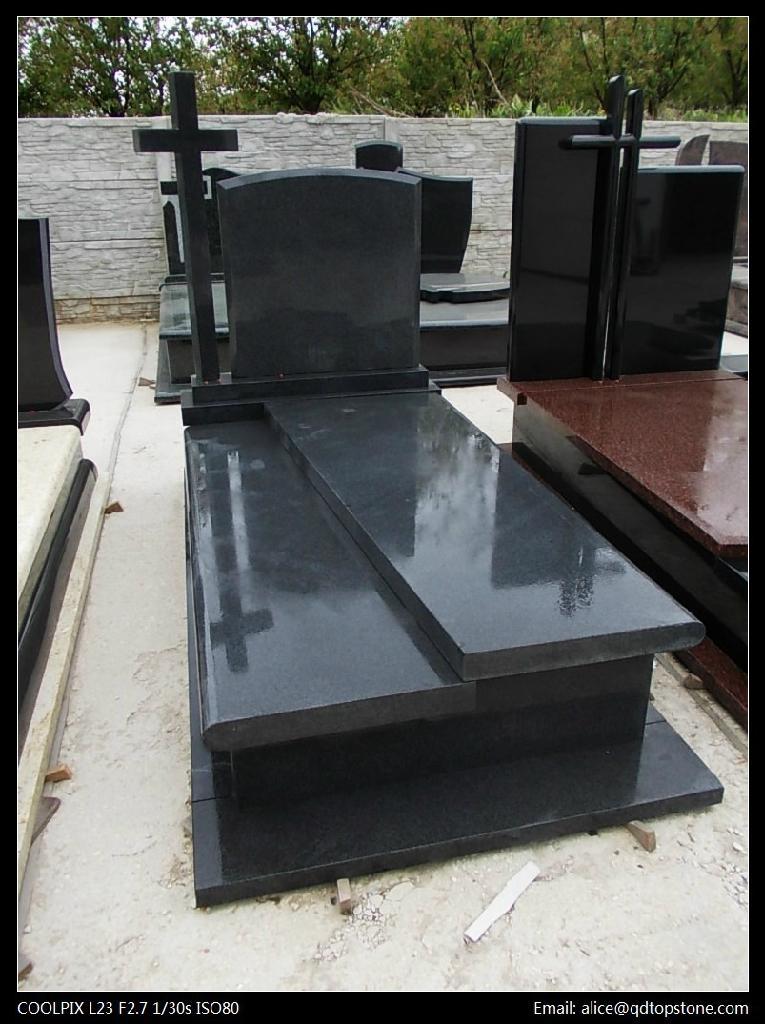 Shanxi Black Granite Tombstone Tombstone 3 Top Stone