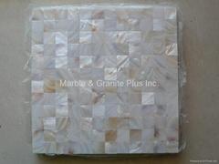 Mesh 25x25mm/300x300mm White MOP mosaic tiles, Butt-joint gap format