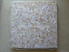 Mesh 10x10mm/300x300mm White MOP Mosaic Tile, Butt-joint gap format