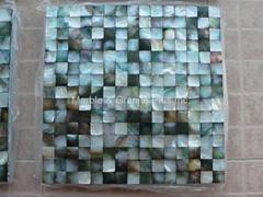 Mesh 20x20mm/300x300mm Blacklip Seashell MOP Mosaic Tile, Butt-joint gap format