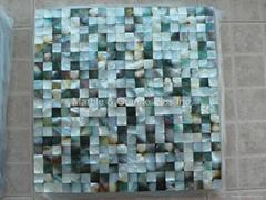 Mesh 15x15mm/300x300mm Blacklip Seashell MOP mosaic tile, Butt-joint gap format