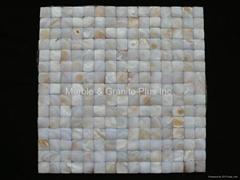 3D White MOP Mosaic tile 20x20mm/300x300mm, butt-joint gap format