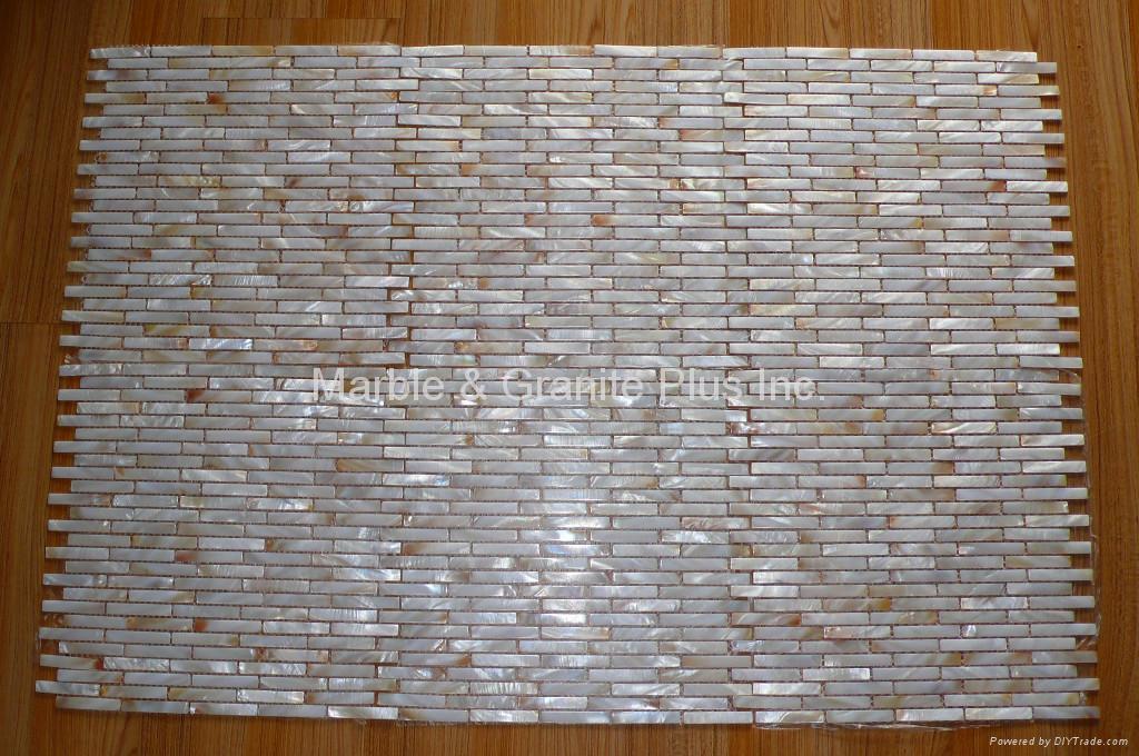 Brick Pattern 10x60mm/315x310x2mm mesh white MOP tile 2
