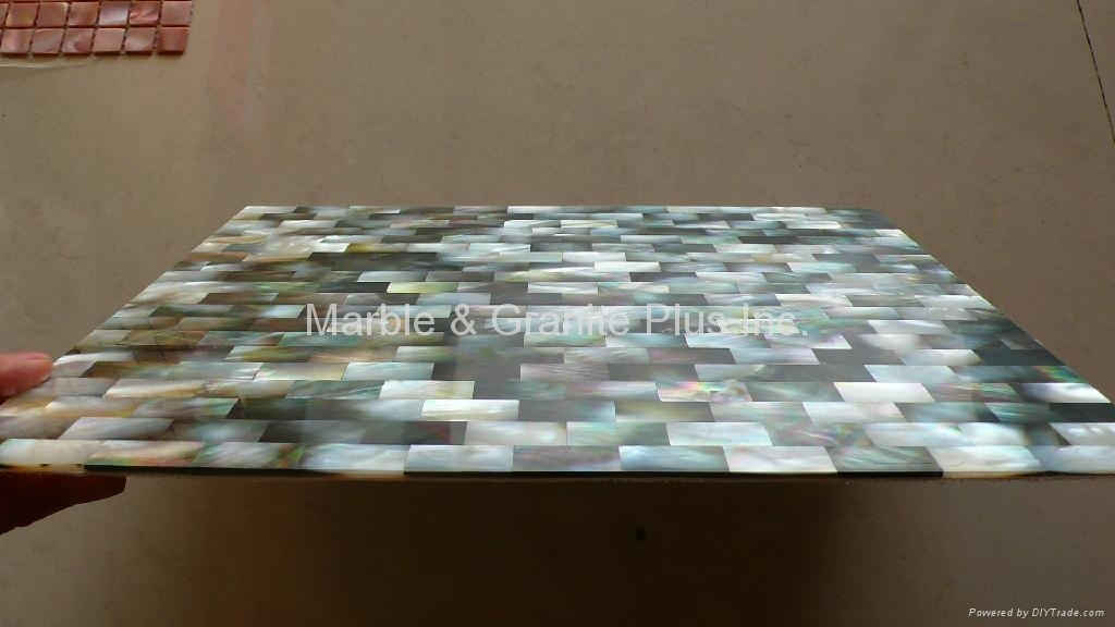 300x300x3mm solid Blacklip Seashell MOP tile