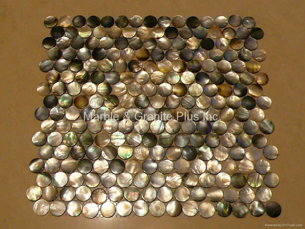 Dia. 20mm Blacklip Seashell MOP Mosaic Tile