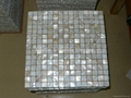 mesh 20x20mm/326x326x2mm white Mother of Pearl mosaic tile, with open grout gap