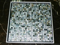 mesh 10x10mm/300x300mm Black Mother of Pearl Mosaic tile, with open grout gap