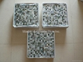 mesh 15x15mm/305x305x2mm Black Mother of Pearl mosaic tile, with open grout gap