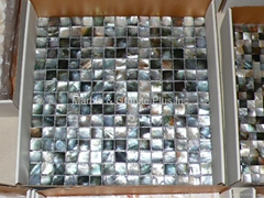 mesh 20x20mm/326x326mm Black Mother of Pearl mosaic tile, with open grout gap