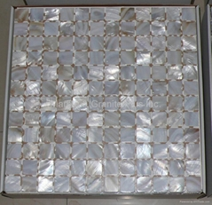 mesh 25x25mm/322x322x2mm white Mother of Pearl mosaic tile, with open grout gap