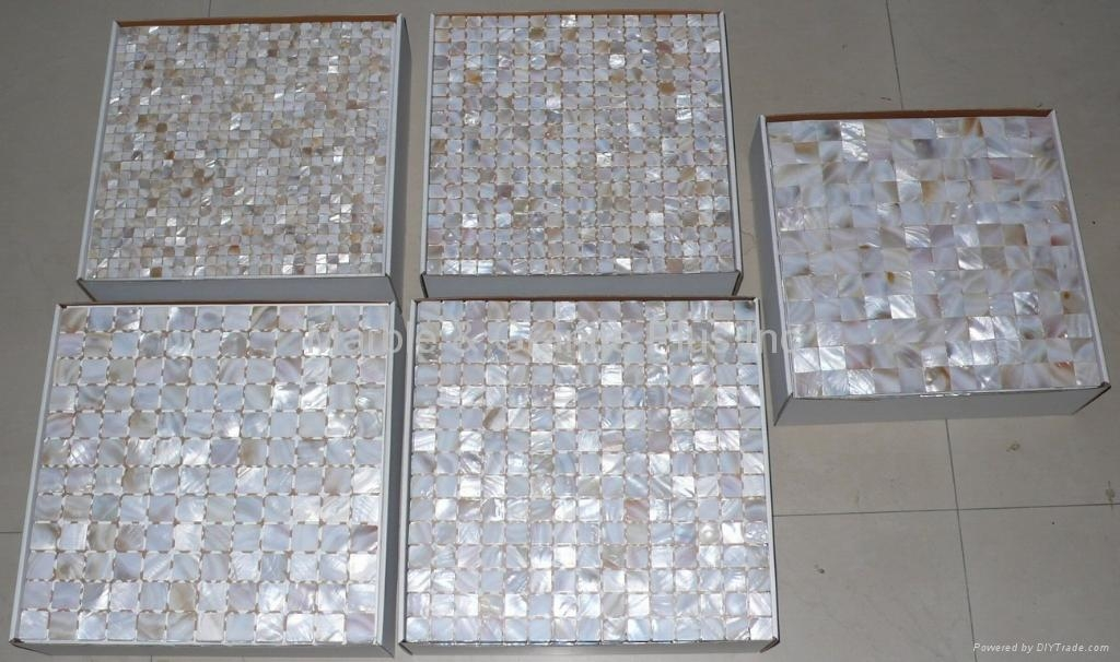 Fiberglass mesh mount MOP mosaic tile