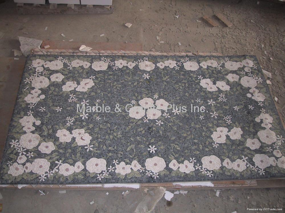 Fiberglass mesh marble mosaic medallion