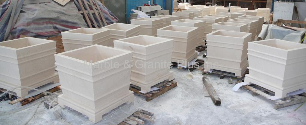 Turkish Beige limestone planter 1