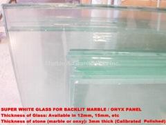 Super White Glass for Backlit Stone Panels