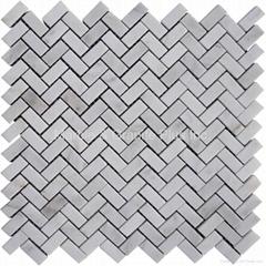 Snow White Herringbone Mosaic Tile