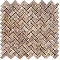 Noce Travertine Herringbone Mosaic Tile