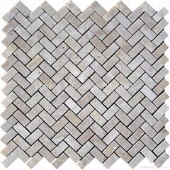 Turkish Beige Travertine Herringbone Mosaic Tile