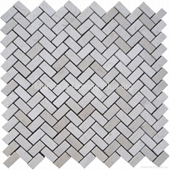 Crema Marfil Herringbone Mosaic Tile