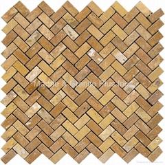 Golden Travertine Herringbone Mosaic Tile