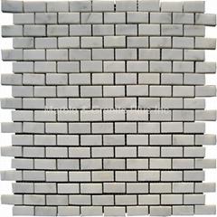 Snow White Brick Pattern Mosaic Tile