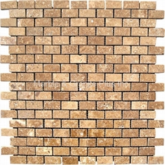 Noce Travertine Brick Pattern Mosaic Tile