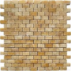 Honey Onyx Brick Pattern Mosaic Tile