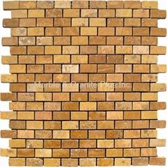 Golden Travertine Brick Pattern Mosaic Tile